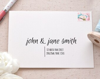 Printable A7 Envelope Address Template | Casual Calligraphy Addressing Template for Wedding Invitations and Announcements