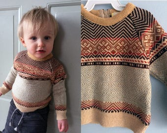 Vintage Toddler Sweater Wanna Be Like Daddy/ 1960-1970s Multicolor Sweater 12m-18m Vintage Clothes for Child