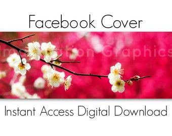 Facebook Cover Digital Download, White Spring Flowers, Instant Access, Pre-made Facebook Cover, DIY, NO TEXT, Cherry Blossom Branch