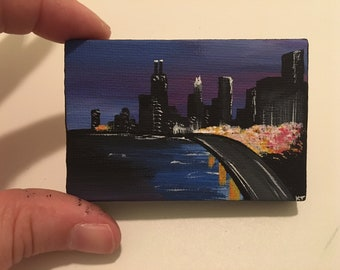 Mini Chicago Painting | Hand Painted | Optional Mini Easel Stand | ChiTown | The Windy City