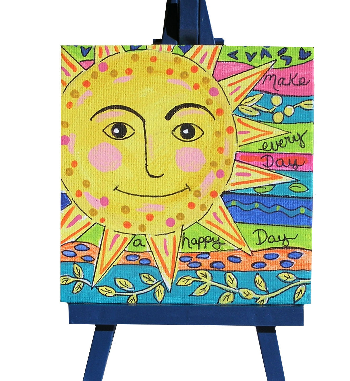 Whimsical sun painting small canvas art folk art sun word