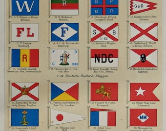 """1904.Flags of Shipping Companies.Ancient Flags print.Old History print.Old print.Maritime flags.6,2x9,2"""" 16x25cm"""
