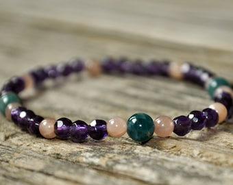 Apatite, Amethyst, Sunstone, Mala Bracelet, Crystal Healing, Yoga Bracelet, Meditation Bracelet, Gemstone Healing, Addiction