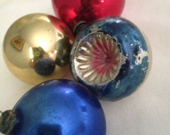 Vintage Christmas Ornaments, 1950's Christmas,  Mercury Glass Balls, Made in Japan, Christmas Decorations