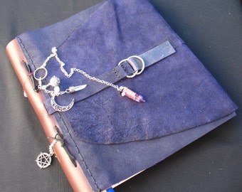 PRICE REDUCED~~Dark Blue Leather Bound Book of Shadows with Pendulum~Sectioned for Seasons~Large Blank Book