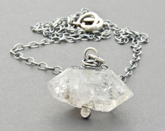 Herkimer Diamond Necklace - Herkimer Quartz Gemstone Pendant - Sterling Silver - #4929