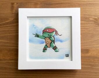 """TMNT Teenage Mutant Ninja Turtle """"Raph"""" Watercolor Print 5x5 by Kendra Minadeo Limited Edition Nursery Art, Baby Art, TMNT, Ninja Turtles"""