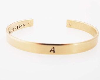 Initial Bracelet, Name Cuff,  Bridesmaid Gift,  Bronze Cuff, Gold Cuff