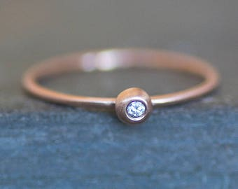 1.7mm Diamond Pebble Ring -14K Solid Recycled Rose Gold - Stacking Ring - Conflict Free Diamond (.02 Carat) - READY TO SHIP (Size 6)