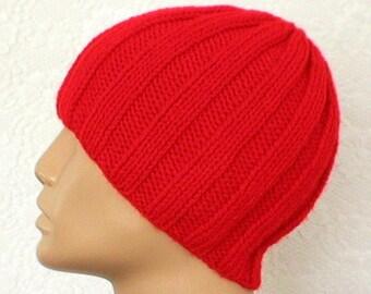 Red beanie hat, skull cap, knit hat, toque, red hat, beanie hat, ribbed hat, mariner seafarer longshoreman cap, mens womens red hat, hiking