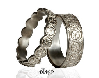 14k wedding band set, art deco hand engraved wedding set, matching wedding bands, floral bands, his hers , antique white gold wedding band