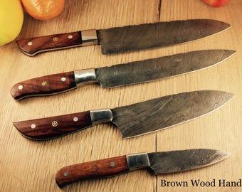 4 Piece Damascus Steel Chef Set