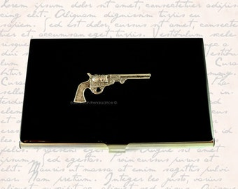 Metal Business Card Case Steampunk Silver Pistol Inlaid in Hand Painted Enamel Neo Victorian Revolver in Custom Colors and Personalized