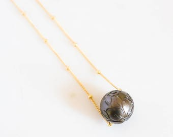 Tahitian Pearl Necklace, Hand Carved, 13mm, 14k Gold Filled Satellite -Tahitian, Wire, Etsy, Floating, Hawaiian, Gold Filled, Necklace,14k