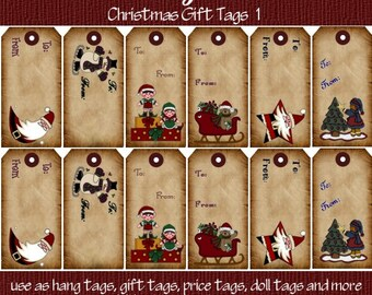 Primitive Vintage Christmas Gift Tags Printable Hang Tags for Scrapbooking Art