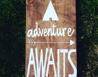 adventure AWAITS - Wall Decor - Handpainted Sign