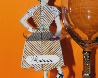 Sitting Settings - Art Place Cards for Parties - The Girl with the Orange Stripes