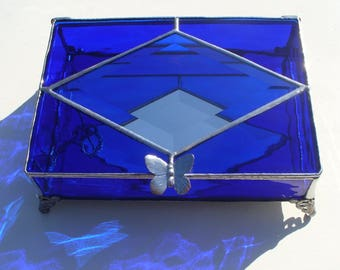 Large, Cobalt Blue, Stained Glass Jewelry Box, Your choice of Handle and color, Engraving add-on available