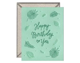 Birthday Ferns letterpress birthday card