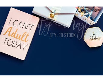 Blue Horizontal Styled Stock Product Photography Background w/Pink Notebook, Journal, Pens, Wallet, Jewelry Holder / High Res File #INF121SS