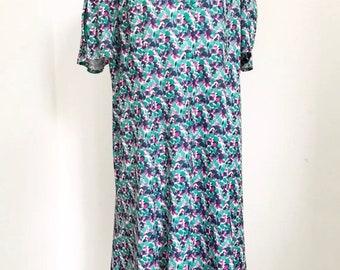 80s plus size green dress  NORMAN LINTON london