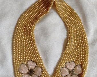 ON SALE: Beautiful Vintage Faux Pearl Collar or Choker with Beaded Flowers, 1950s
