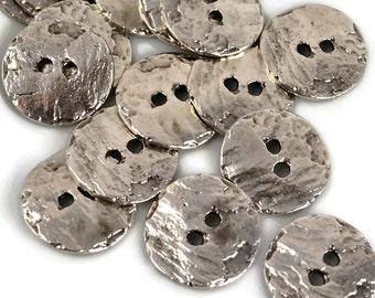 16mm Button Round - Pewter - Mykonos Beads Cornflake Button