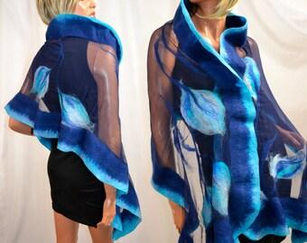 Beautiful silk scarf, unique, handmade, shawl, scarves, cape, bolero, Unique fashion designer
