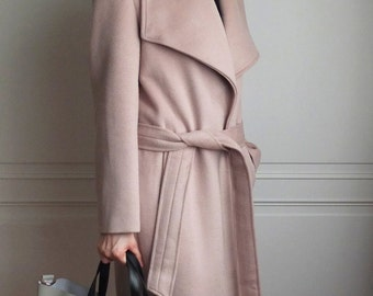 Soft taupe / ecru belted oversize lapel wool coat {double-face cashmere, other colours are available}