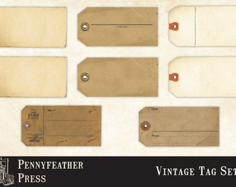 Printable Vintage Tags Luggage Tags Mail Tags Antique Tag Clip Art Graphics PNG Instant Download