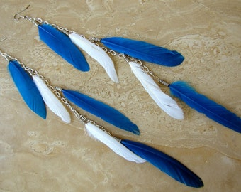 Long Feather Earrings - Blue and White Feather Fringe Earrings - Blue Willow