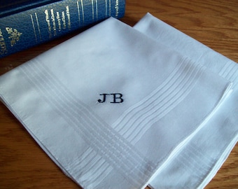 SET of TWO Personalized Monogram Gift Embroidered Handkerchief Men 15