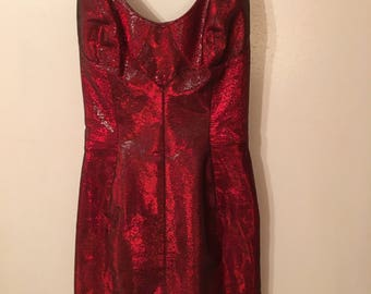 Vintage 1990s Red Iridescent Strappy Faux  Snakeskin Dress