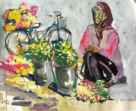 "SELLING FLOWERS 16X14"" gouache on paper, live painting, Vietnam village scene, original by Nguyen Ly Phuong Ngoc"