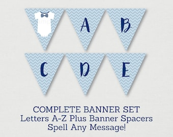 Onesie Bow Tie Baby Shower Banner / Bow Tie Baby Shower / Little Man Baby Shower / Chevron / Letters A-Z / INSTANT DOWNLOAD A184