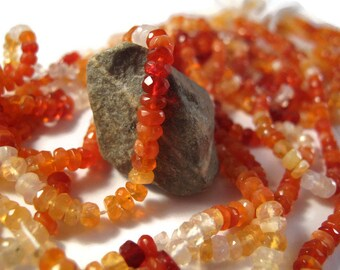 14 Inch Strand of Gorgeous Mexican Fire Opal Beads, Gemstone Rondelles, 4.5mm, Gemstones for Making Jewelry (R-Fo1a)