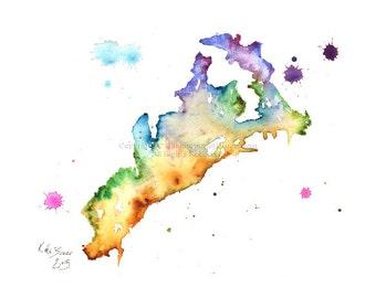 Amalfi Map - Amalfi City - Amalfi Coast -  Print of watercolor map
