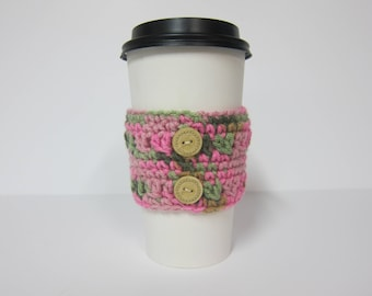 Coffee Cup Cozies, Girly Cup Cozy, Cozy Crocheted, Cozy with Buttons, Pink and Green Cozy, Pink Coffee Cozies, Pink Cup Sleeve, Travel Cozy