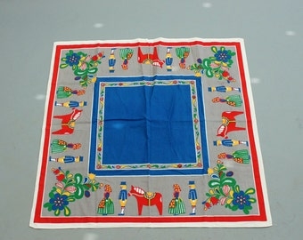 vintage dala horse tablecloth . Swedish linen tablecloth . floral pattern square tablecloth . scandinavian mid century table linen