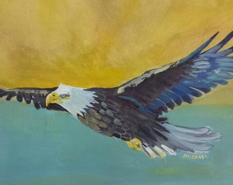 Flying Eagle Original Watercolor Painting