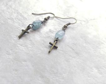 Aquamarine earrings, light blue earrings, cross earrings, spring fashion, baptism gift idea, gifts for women, graduation gift for her, march