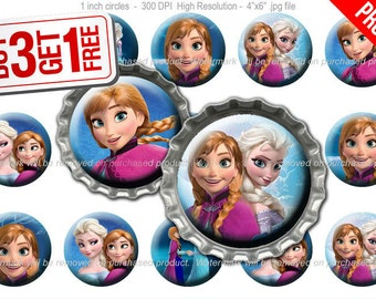 Frozen Anna Bottle Cap Images - 1 inch size - Suitable for Hair Bows, Magnets, Scrapbooking, Stickers etc - High Resolution Images (009)