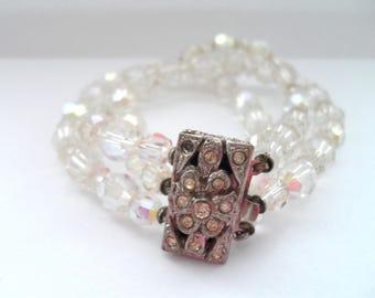Vintage Aurora Borealis Crystal Bracelet Rhinestone Clasp and Multi Strand Crystal Bracelet Vintage Bracelets
