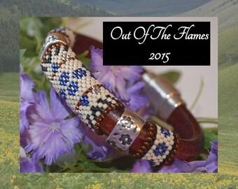 Licorice Leather Bracelet  - Cobalt Floral