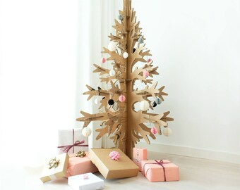 132cm / 4'33'' brown cardboard laser-cut modern cut-out christmas tree