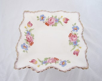 Vintage James Kent dish - square fluted ruffled edge ring trinket bowl porcelain white flowers pink blue yellow green gold