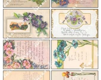 Flowers - 8 Assorted Floral Arrangements designed around poems on a Digital Collage Sheet Download - AFLWR9