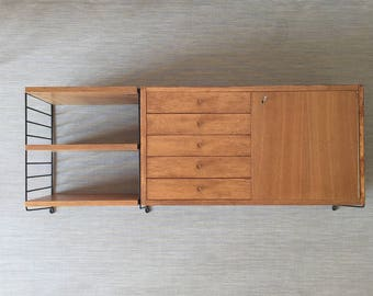 Mid century 60s string shelf with cupboard element