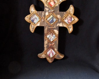 Wood Cross with Milagros and Saints