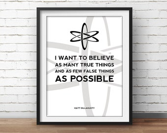 Atheism Quote Poster Matt Dillahunty - Science Art, Geek Posters, Atheist Print, Wall Art, Scientist Poster, 18x24 Poster